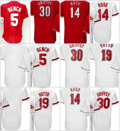 Wholesale Multi Bench - High quality Men's Johnny Bench #5,Pete Rose #14,Joey Votto #19,Ken Griffey Jr #30 100% Stitched Logos Jersey Flexbase White Red Cheap sales