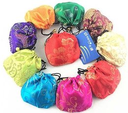 Wholesale Gift Bags Mixed Sizing - Wholesale -Small Jewelry Pouch Personalized Silk Drawstring Gift Bags size-4x4 inch mix colors -953H