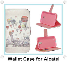 Carteira para alcatel one touch on-line-Carteira Floral Vintage Leather PU flip suporte do telefone caso capa para Alcatel One Touch Pop C3 / C7 / C9