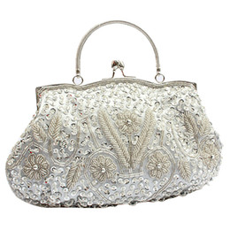 Wholesale Fashion Trend Evening - Wholesale-New Trend Womens Brand Fashion Satin Beaded Handbag Wedding Party Prom Clutch Purse Evening Bag for Women Girls