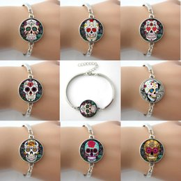 Wholesale Letter Sugar - Sugar Skulls Cross,Flower,Rose,Canvas Prints,Lock Giant Cutout Bracelets Bangles Plated Antique Silver Round,Rhodium Bangles