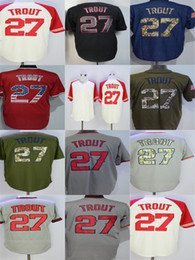Wholesale Mens Cheap Shorts - Factory Outlet Mens Womens Kids Toddlers Los Angeles 27 Mike Trout Best Quality Cheap Beige Black Blue Flag Green Grey Baseball Jerseys