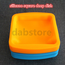 Wholesale Rubber Slicker - 8*8inch Silicone Mats Wax Jars Slick Pads NonStick Shatter Proof Dabber Tools Dab BHO Butane Honey Oil Vacuum Chamber Degassing Wax Dishes