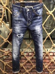 Wholesale Men Paint Jeans - size 44-52 2017 luxury designed Paint points ripped holes Europe fashion brand short jeans top quality jeans