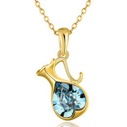 Wholesale Swarovski Necklace Designs - 2015 New Design 18K gold plated Swarovski Elements Crystal kettle Pendant Necklace Fashion Jewelry pretty cute gift free shipping