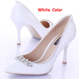Wholesale Satin Crystal Shoes - Sweet White Bridal Shoes with Crystal Pointed Toe 9cm Heels Women Pumps Satin Formal Dress Shoes Wedding Party Prom Shoes