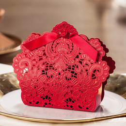 Wholesale Laser Cut Wood Box - 100pcs Red Laser Cut Hollow Candy Box with Ribbon Wedding Party Favors Gift Boxes Bags New
