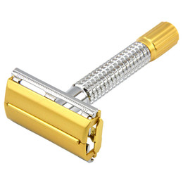 Wholesale Brass Processing - Men Shaver Kit Safety Razor Double Edges Razors Brass Handle Sand Gold Process Shaver Knife With Package