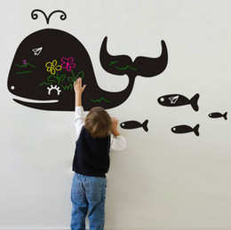 Wholesale Removable Wall Decals Whales - DIY Removable Whale Blackboard Vinyl Waterproof Animal Wall Stickers Kids Room Decor Nursery Decal Sticker Wallpaper 20pcs lot