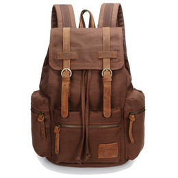 Wholesale leather backpack vintage genuine - Wholesale-Genuine leather+canvas retro men backpacks vintage brown men canvas backpack large capacity travel hiking bags for women A31