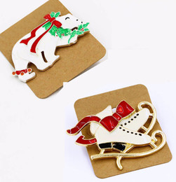 Wholesale Pin Buckle Diy - 12Pcs   Lot Trendy Gift White Enamel Red Bow White Shoes & Polar Bear Brooch Buckle Collar Clip For Christmas Xmas DIY Jewelry
