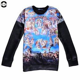 Wholesale Leather Hoodie Women - w151231 OPCOLV new fashion women men black street punk sweatshirt print oil painting hoodies casual men harajuku PU leather sweatshirts
