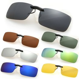 Wholesale Wholesale Clip Sunglasses - Wholesale-Brand New Men Women Polarized Clip On Sunglasses Sun Glasses Driving Night Vision Lens Unisex Anti-UVA Anti-UVB Fashion W1