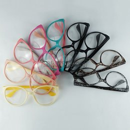 Wholesale Plastic Optical Lens - Cheap New Fashion Glasses Frame Arale Round Frame Optical Frame With Clear Lenses PC Frame Mix Colors 20pcs lot Free ShipmentWLJ619