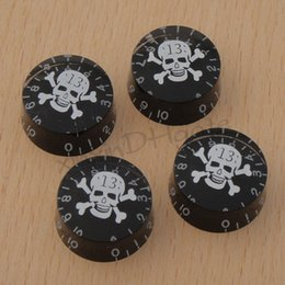 Wholesale Black Bass Knobs - 4X Skull Head Logo Inlay Bass Guitar Control Knob Plastic for LP Guitar Black