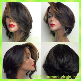 Wholesale Brazilian Hair Dark Brown Straight - Brazilian short hair wigs straight human hair dark brown best nature african american hair cheap remy wigs for black women