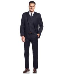 Wholesale Royal Blue Waistcoat - 100% Handmade 2017 Dark Navy Tuxedos Three Pieces Gentleman Suits Wedding Party Grooms Groomsmen Suits Custom Made Jacket Pants Waistcoat
