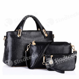 Wholesale Buy Women Bags Wholesale - The New European And American Crocodile Grain Lash Package Leisure, Joker Three-piece Fashion PU Leather Bags, Buy Have Three Free DHL