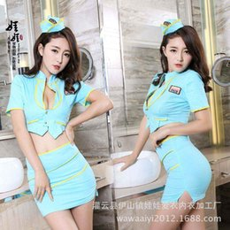 Wholesale White Lace Underwear Package - Fresh blue body underwear clothing V deep tight package hip skirt with 8303 airline stewardess policewoman