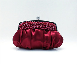 Canada Satin perles de mariage de gros-Bourgogne dames sac de soirée embrayage sac à main Party Bride bourse Maquillage sac Livraison gratuite burgundy evening bags on sale Offre