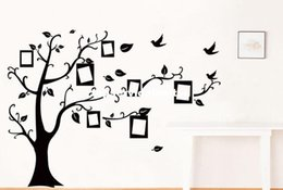 Wholesale Wholesale Family Tree Picture Frames - 200*250CM Family tree Picture Photo Frame Tree Wall Quote Art Stickers Vinyl Decals Home Decor