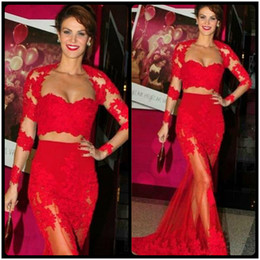 Wholesale Sweetheart Cut Long Pink Dresses - 2016 Vestidos De Fiesta Sexy Two Piece Prom Dresses Sweetheart Long Sleeve Out Cut See Through Red Lace Mermaid Long Prom Evening Dress