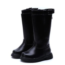 toddler flats Australia - 2017 Winter Toddler Baby Girl Knee High Boot Child Fashion Loop Warm Flat Kid Buckle Black Shoe