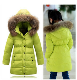 Wholesale Large Girls Winter Coats - 2015 Fashion children duck down jacket large fur collar long thick winter jacket girls child coats outwears warm for cold winter