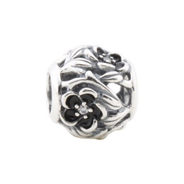 Wholesale Enamel Loose Beads - Openwork Floral Silver Charm with Cubic Zirconia and Black Enamel 925 Sterling silver charms loose beads for European thread bracelet DC398