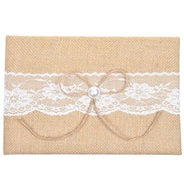 Wholesale Notepads Designs - Wholesale- Burlap and Lace Pearl Design Guest Book For Rustic Wedding