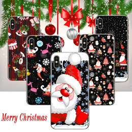 Wholesale Iphone Christmas Santa Case - Merry Christmas Case Santa Claus Elk Coloured Drawing Printing Painting Soft TPU Gel Clear Transparent Cover For iPhone X 8 7 Plus 6 6S