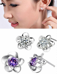 Wholesale Allergic Gold Plated Jewelry - 2 Colors Top Grade Silver Stud Earrings for Sale Silver Earrings for Women Anti-Allergic Silver Jewelry Wholesale Discount
