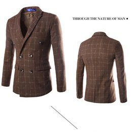 Wholesale Men Double Breasted Suits - Wholesale-Hot Sale 2015 New Fashion Brand Men's fashion high quality wool plaid double-breasted suit jacket