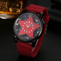 Wholesale Blue Star Battery - usa Women's Watches fashion five-pointed star hollow watch Canvas braided strap Big red dial Neutral dress watch