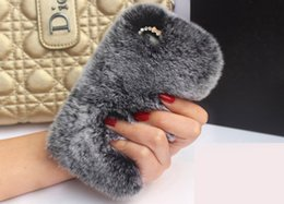 Wholesale Real Diamond Iphone Case - Real rex Rabbit soft Fur Phone diamond cover Case For Iphone X 8 7 6 6S Plus Phone Case DHL Free