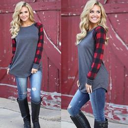 Wholesale Women Cotton Shirt - S-5XL Plaid Panel Raglan Sleeve T-shirt for Women Autumn Winter Plus Size Casual Shirt 3 Colors