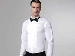 Wholesale White Men Prom Shirt - New arrival white wedding Bridegroom shirts Hot sale long sleeves formal party prom men shirts High quality groomsmen evening shirts NO:02