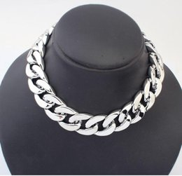 Wholesale Big Lockets - Big Thick Chain Necklace Simple Silver Big Necklace, Punk Accessories Coarse Chain Necklace Quality Fashion Metal Necklace