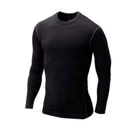 Wholesale Thermal Long Sleeve Shirts Men - Wholesale-New 2015 T-shirt Men Base Layer Thermal Under Top Bodybuilding Skinny Gym Long Sleeve Sport Shirt Skins Gear Cool Dry Plus Size