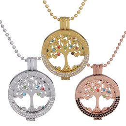 Wholesale Mi Necklace - 5pcs plated rose gold silver mi moneda 33mm coins cristal tree of Life pendant chains mi moneda pendants with necklace NK0200