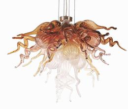 Décor contemporain en Ligne-Décor de comptoir contemporain ambre / pêche couleur LED CE UL UL Europe art lustres en verre soufflé