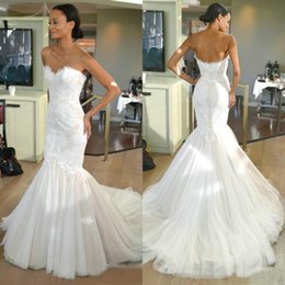 Wholesale Design Back Wedding Dress - Lace Mermaid Wedding Dresses Sweetheart Lace Tulle Sweep Train 2015 Simple Design Bridal Gowns Zipper Back Custom Made W966