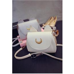 Wholesale Leather Heart Shaped Handbag - New 2018 Sailor Moon Ladies Handbag Black Luna Cat Shape Chain Shoulder Bag PU Leather Women Messenger Crossbody Small Bag