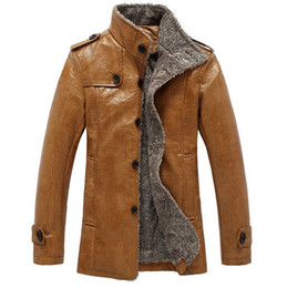 Wholesale Lether Jacket Men - New 2014 Winter Male Fur Stand Collar Thickening and Wool Windbreak Waterproof Lether Jackets Leather Coat Men's Leather Jacket