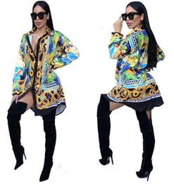 Wholesale ladies long blouses - 2017 Autumn Fashion Long Sleeve Printed Blouse Women Casual Tops Turn Down Collar Kimono Button Down Ladies Loose Long Shirts