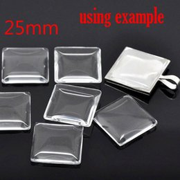 Wholesale Square Glass Dome Tile Seals - wholesale 20 Clear Square Cabochon Glass Dome Tile Seals 25mm For Photo Craft Jewelry Make(W01555 X 1)