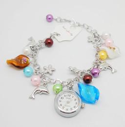 Wholesale Wrist Watch Dolphins - High Quality Exquisite Women Multicolor Faux Pearl Dolphin Pendant Bracelet Quartz Watch Ladies Hot Summer Decoration Wrist Watch