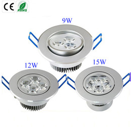 Wholesale Dimmable Led Wall - Ultra Bright 9W 12W 15W led downlights dimmable 110V-240V Ceiling wall bulb Led Ceiling lamp led spotlight down light