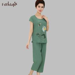 Wholesale Ladies Plus Size Pyjamas - Wholesale- Ladies Summer Pajamas Home Women's Clothing Pijama De Mujer Sleepwear Woman Pijama Set Pyjamas Plus Size XL-4XL E1057