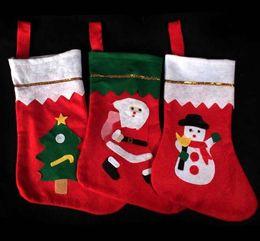 Wholesale Medium White Gift Bags - Christmas stockings Large gold stickers Christmas sock Santa non-woven gift bag Christmas ornament christmas decorations sale wholesale CT05